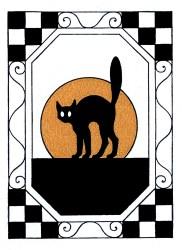 cat halloween moon clip clipart cute silhouette graphics fairy retro orange graphic frame