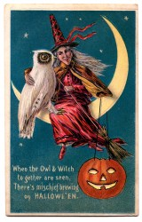 halloween witch owl clip pumpkin moon graphics fairy enlarge