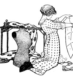 vintage sewing clip art girl with pattern and dress form [ 1600 x 1252 Pixel ]