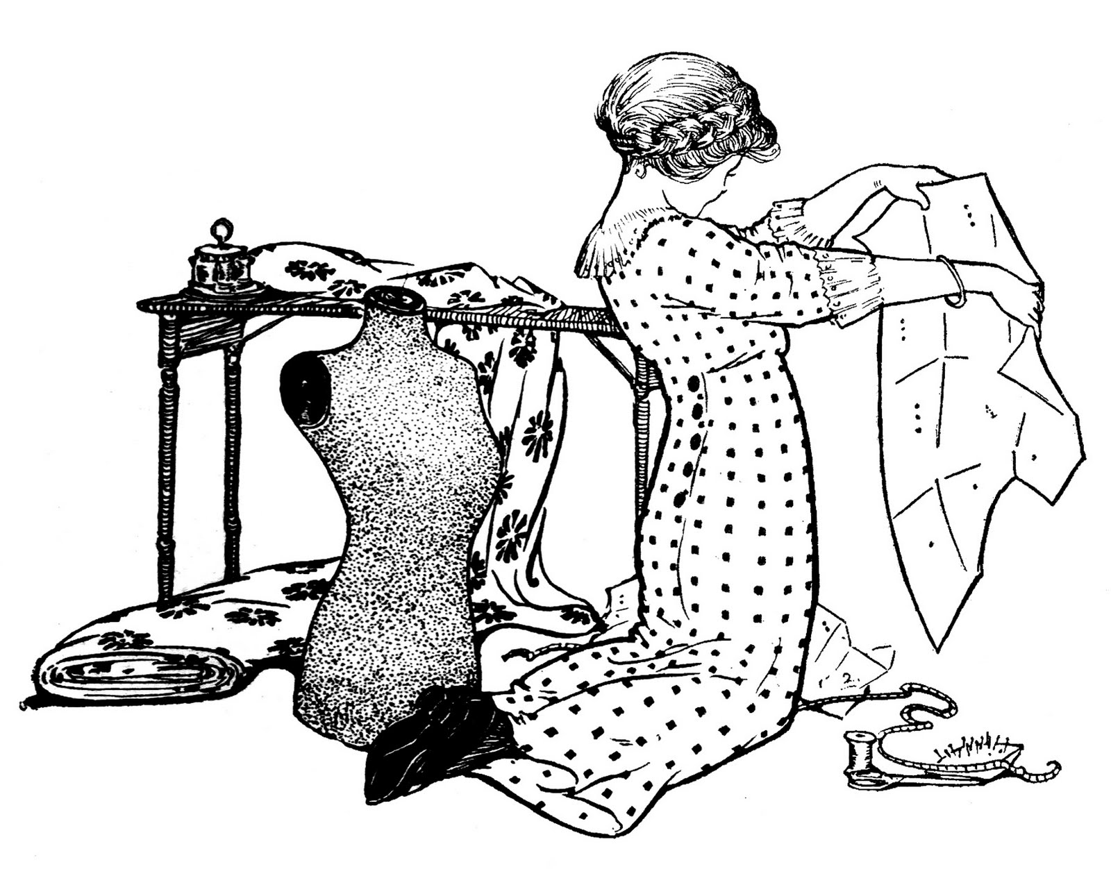 hight resolution of vintage sewing clip art girl with pattern and dress form