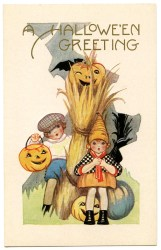 halloween cute pumpkins graphic graphics cards happy fairy clip postcards card witch fall antique postcard greetings fun long greeting witches