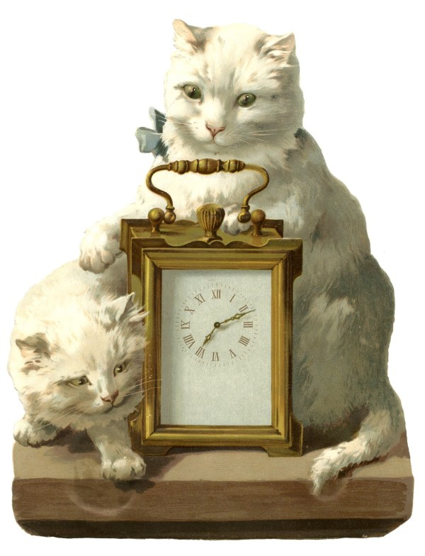 Fantastic Vintage - Clock With Cats Graphics Fairy