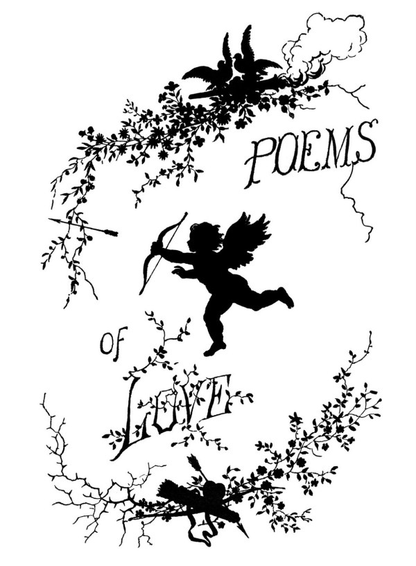 Vintage Clip Art - Poems Of Love Silhouette Cupid