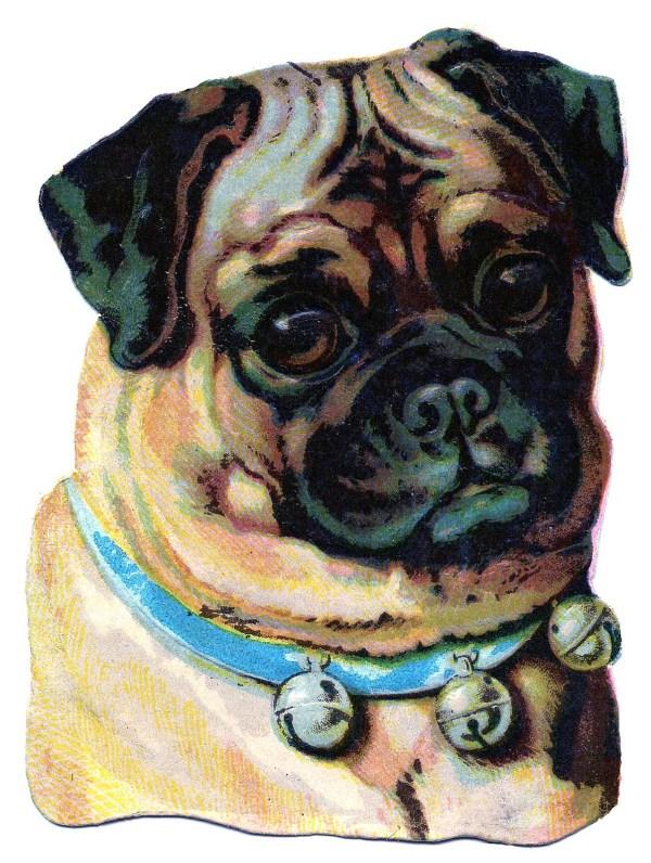 Vintage Clip Art - Darling Pug Graphics Fairy