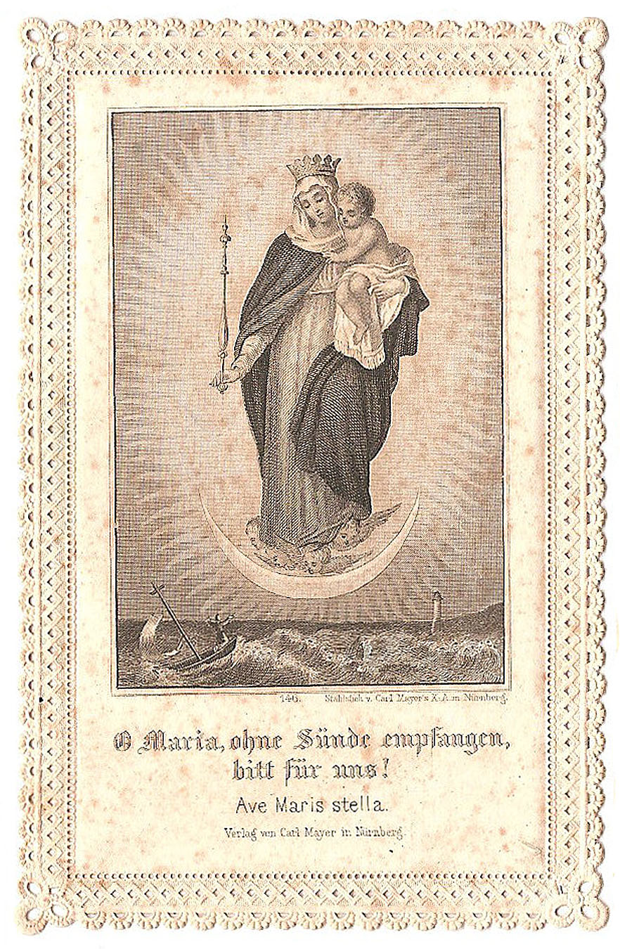 Vintage Ephemera Graphic Lace Holy Card Mary With Baby