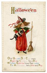 halloween witch cat cute antique postcards clip graphic graphics postcard fairy thegraphicsfairy broom