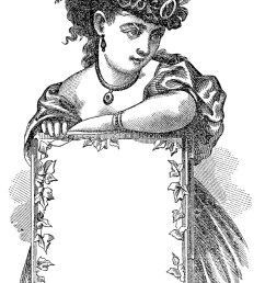 antique clip art victorian lady with sign label [ 842 x 1350 Pixel ]