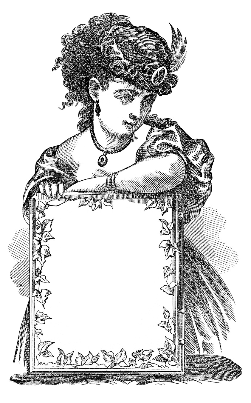 hight resolution of antique clip art victorian lady with sign label