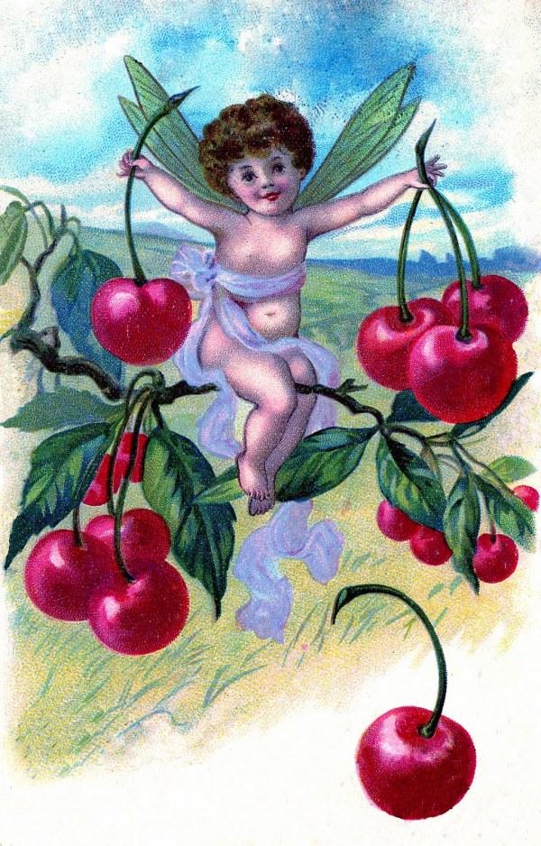 Vintage Clip Art - Adorable Cherry Fairy Graphics