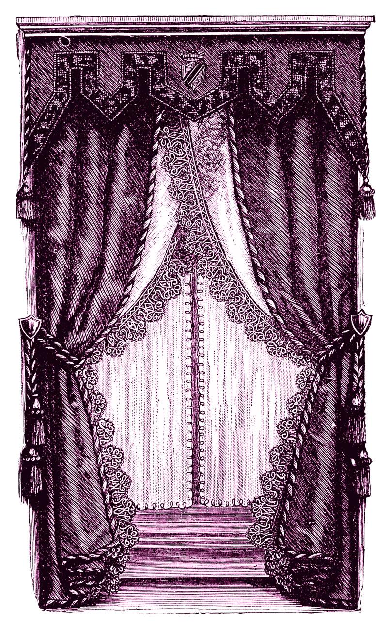 Vintage Clip Art  Fancy Victorian Curtains Draperies  The Graphics Fairy