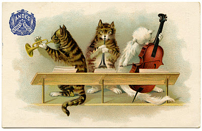 Vintage Graphic Musical Cats The Graphics Fairy