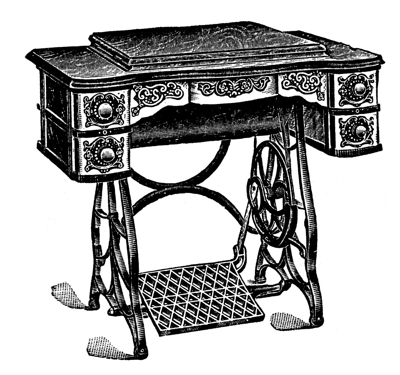 hight resolution of vintage clip art antique sewing machine table