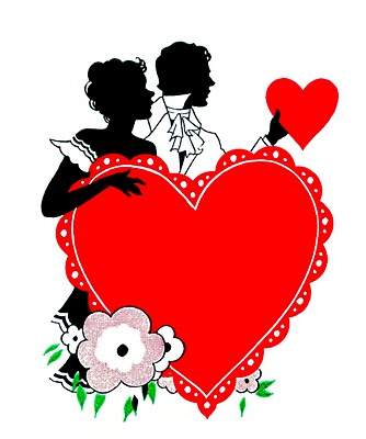Vintage Valentines Day Clip Art Romantic Silhouettes