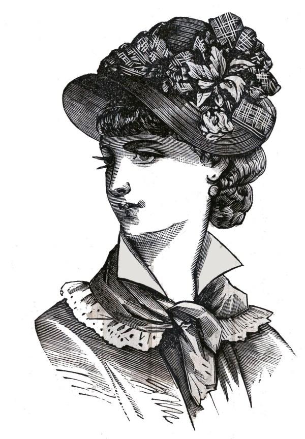 victorian clip art - 3 hat wearing
