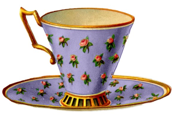 Vintage Graphics - 3 Pretty Teacups With Roses