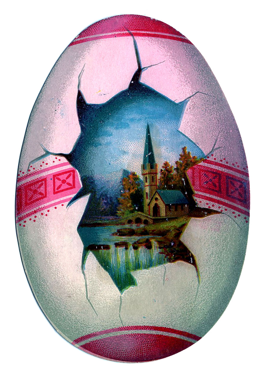 Victorian Easter Clip Art 2 Egg Shaped Cards The