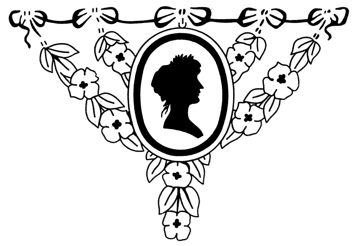 Vintage Graphic Images Silhouette Lady With Floral Frame