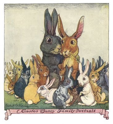 Vintage Easter Clip Art Easter Bunny With Family The