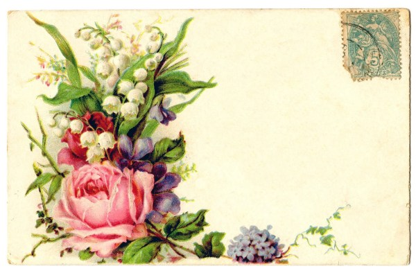 vintage clip art - card with floral