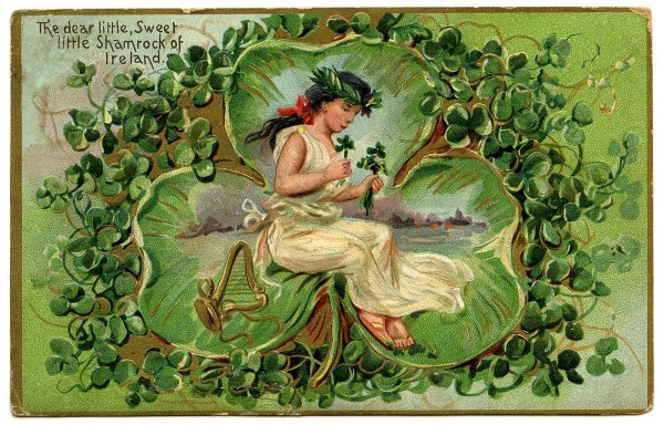 Vintage St Patricks Day Clip Art - Lovely Lass In Giant Clover Graphics Fairy