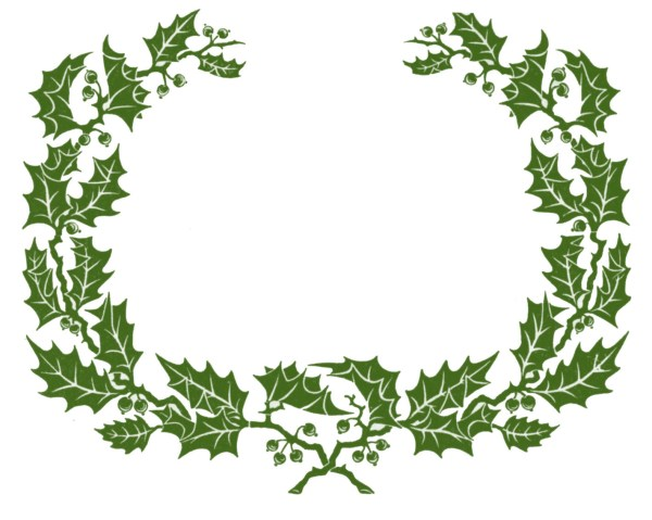 vintage clip art - holly wreath