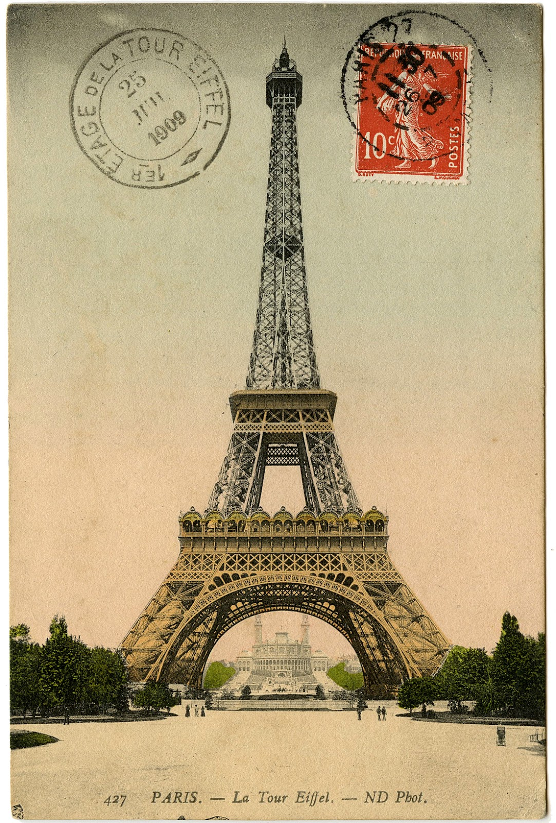 Vintage Image  Eiffel Tower Photo and Postmark  The Graphics Fairy