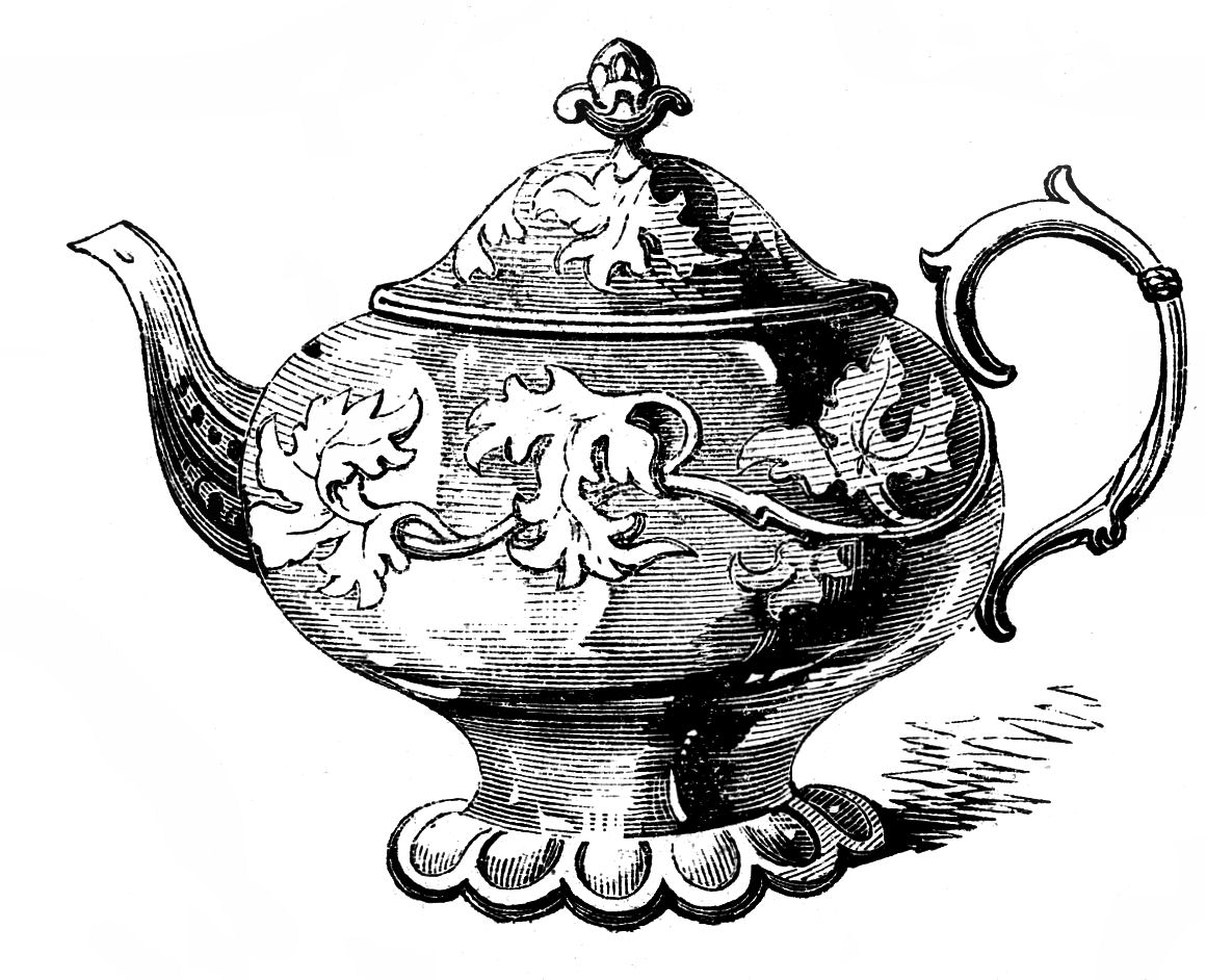 hight resolution of free vintage clip art 2 ornate teapots