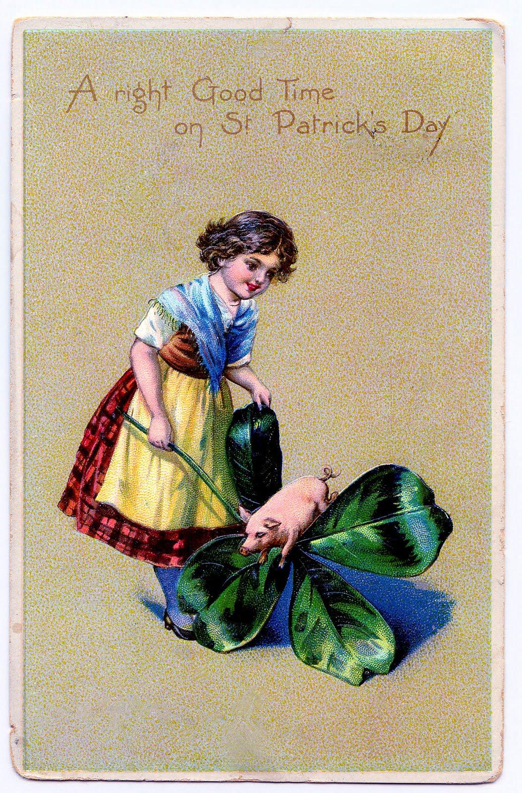 Free Vintage Clip Art St Patricks Day Card The