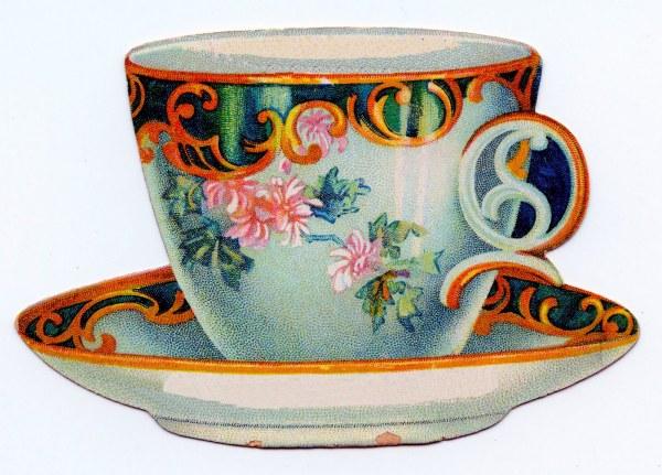 Vintage Clip Art - Cute Tea Cup Trade Card Graphics