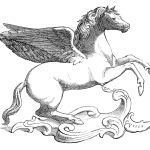 Vintage Clip Art Beautiful Winged Horse The Graphics Fairy