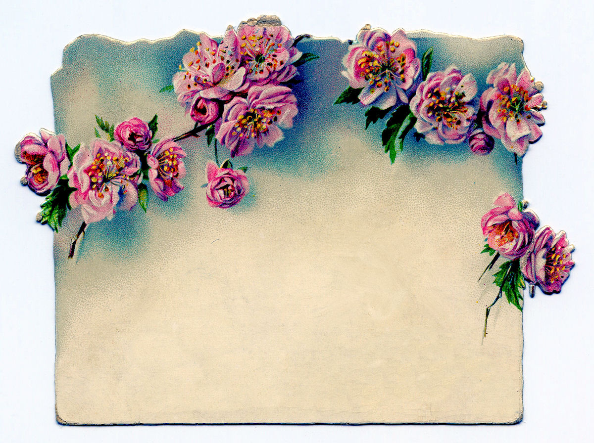 Vintage Clip Art Rose Garland Label The Graphics Fairy
