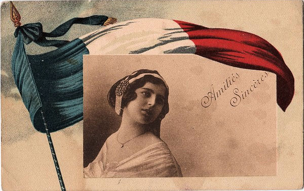 Vintage Postcard French Flag The Graphics Fairy