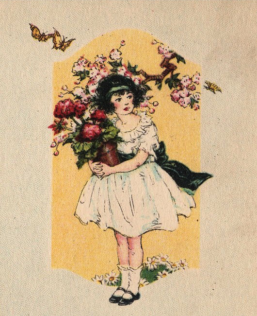 Charming Girl With Geraniums The Graphics Fairy