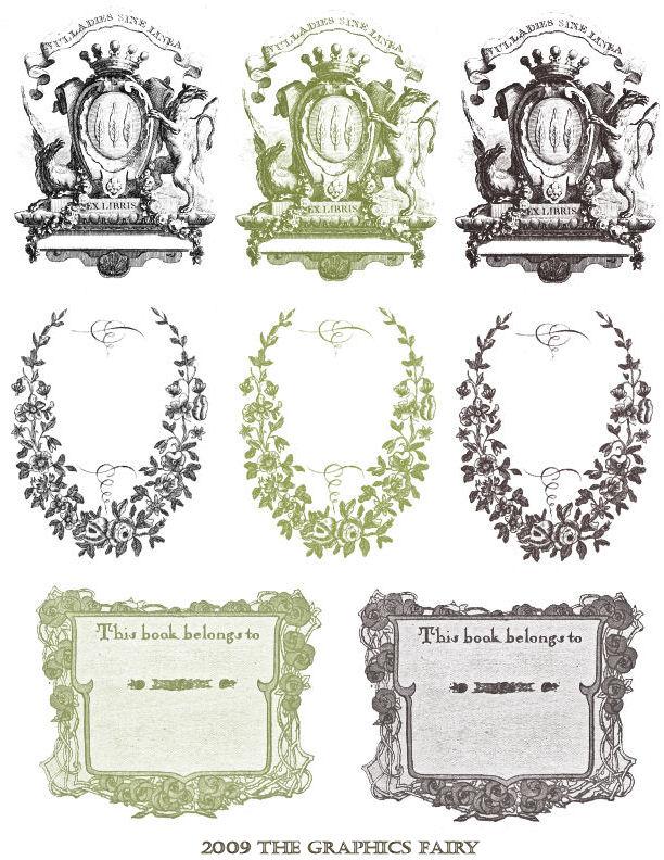 Free Printable  Vintage Bookplates  The Graphics Fairy