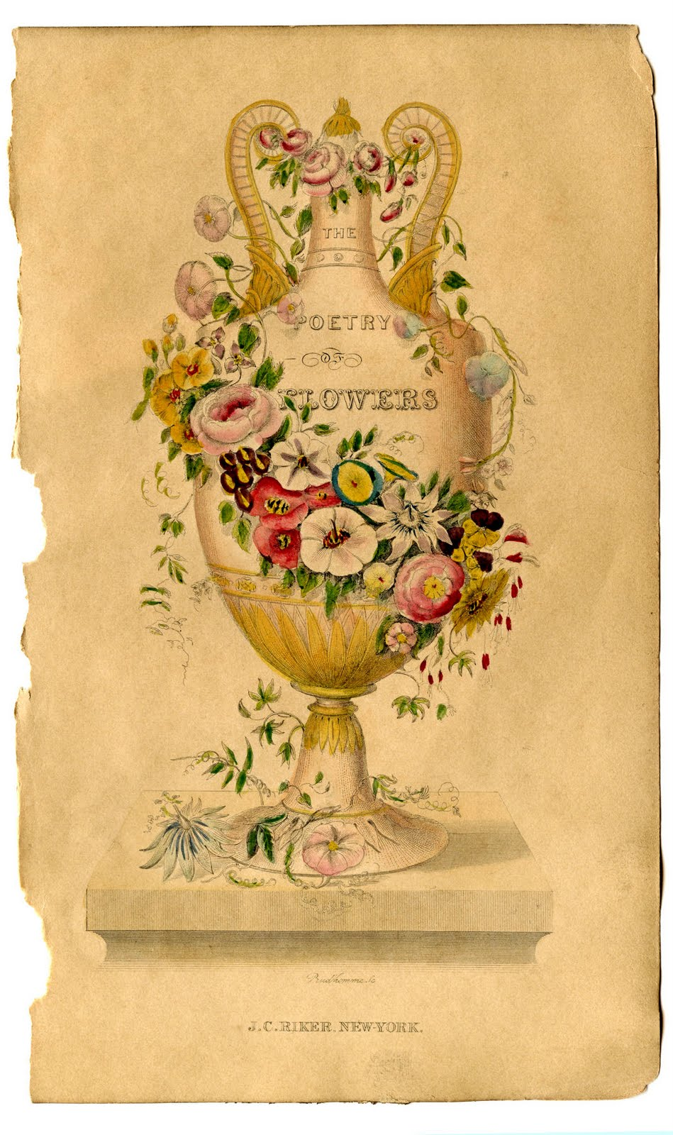 Victorian Clip Art Poetry Of Flowers Urn The