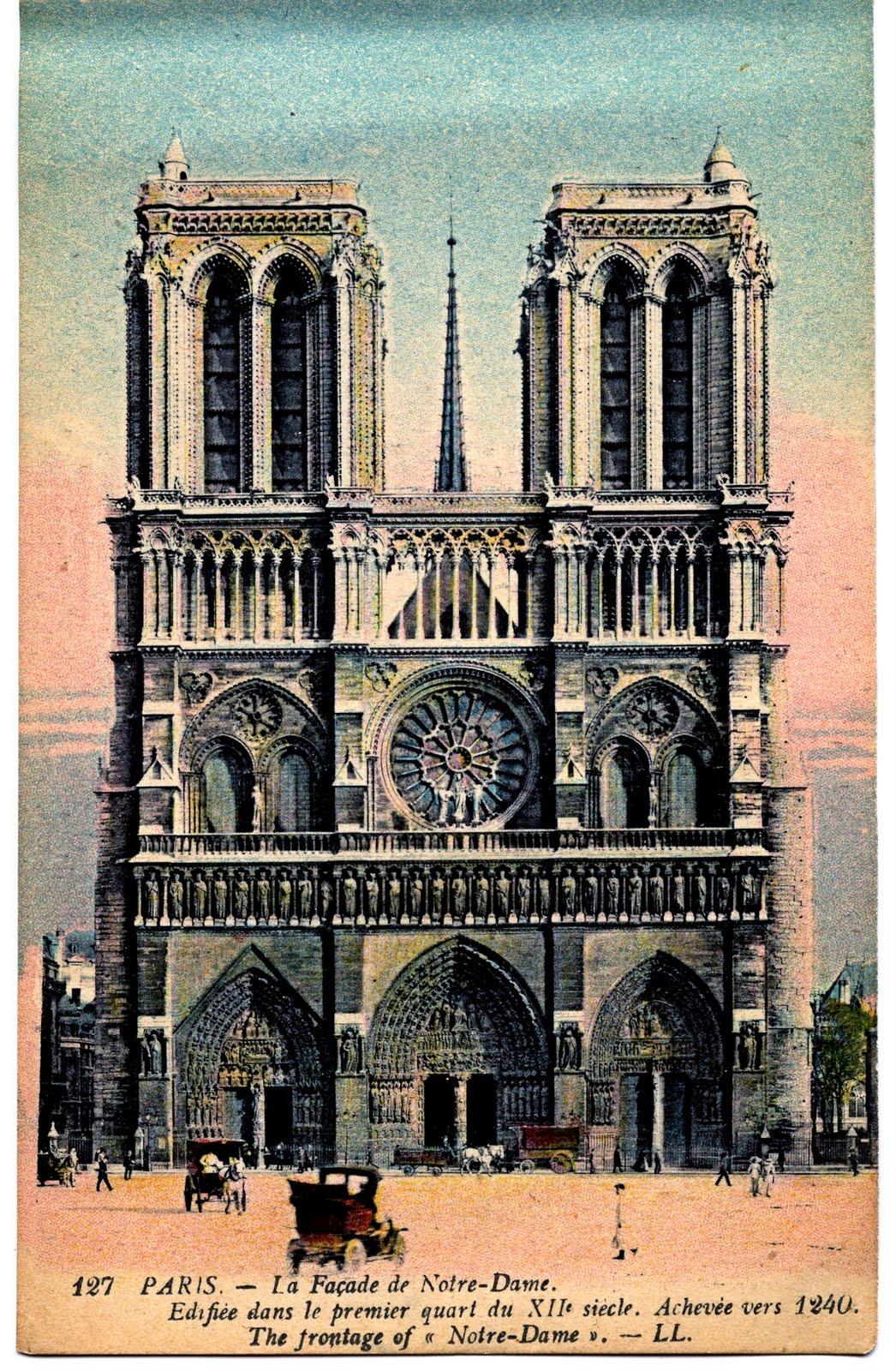 Vintage Paris Travel Postcard Notre Dame The Graphics