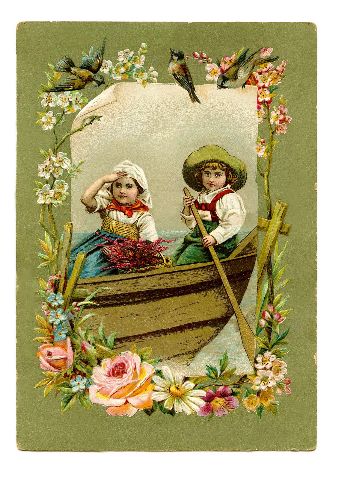 Vintage Image Gorgeous Children In Boat With Birds The Graphics Fairy