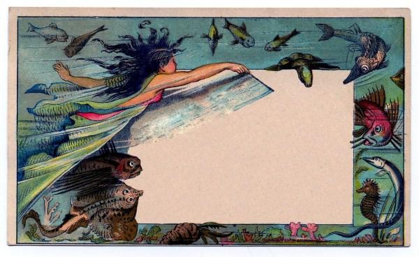 Beautiful Whimsical Mermaid Trade Card - Label Graphics Fairy