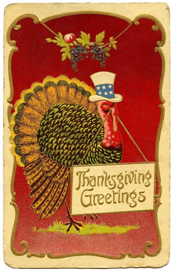 Vintage Thanksgiving Clip Art - Patriotic Turkey