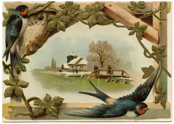 Vintage Clip Art - Lovely Swallows Graphics Fairy