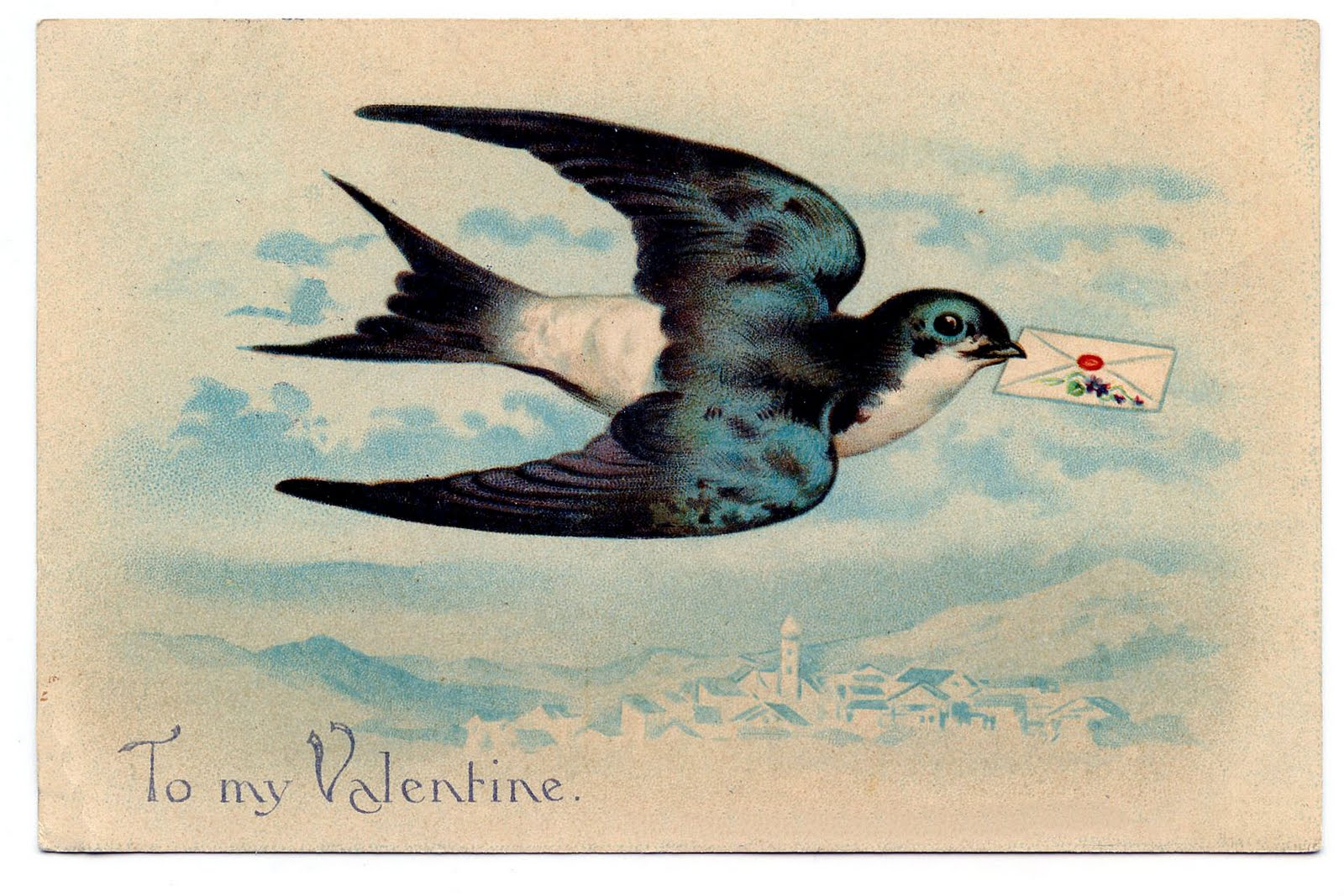 Vintage Valentine Clip Art Gorgeous Swallow The