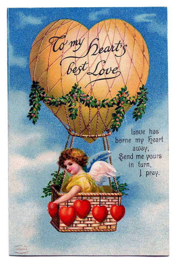 Vintage Valentine' Day Clip Art - Cupid In Heart Shaped Balloon Graphics Fairy