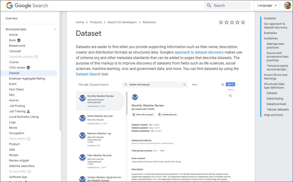 Google's requirements for inclusion in Dataset Search