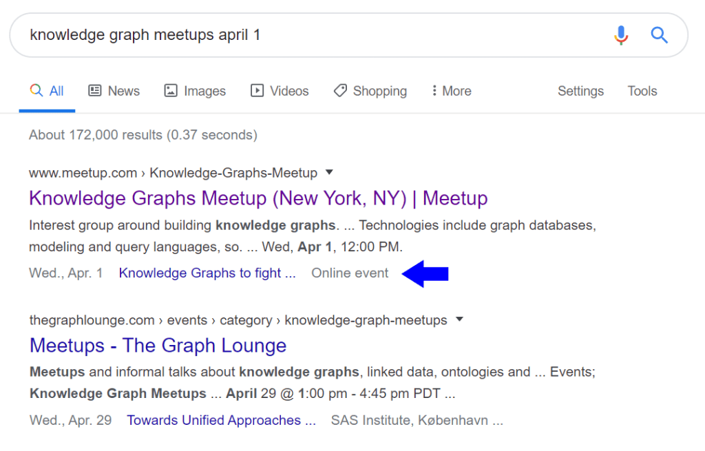 "Google's rich result for an online event from meetup.com, with the ""Online event"" label generated only because the markup actually identifies this as an offline event taking place at a place named ""Online event"""