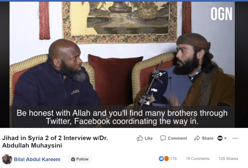 Bilal Abdul Kareem Muhaysini Twitter Facebook