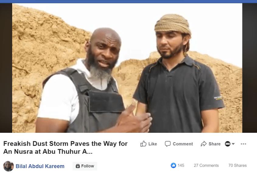 Bilal Abdul Kareem Nusra trench Facebook