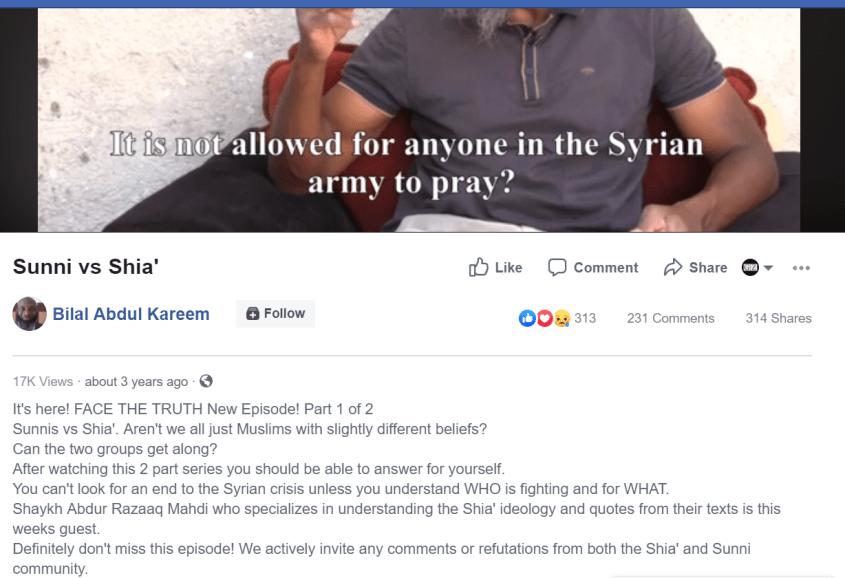 Bilal Abdul Kareem Sunni vs Shia