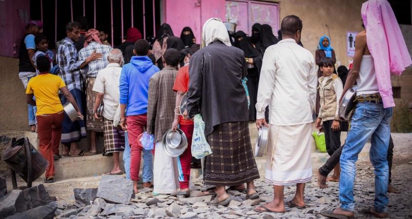 Yemen Sanaa food line UN OCHA