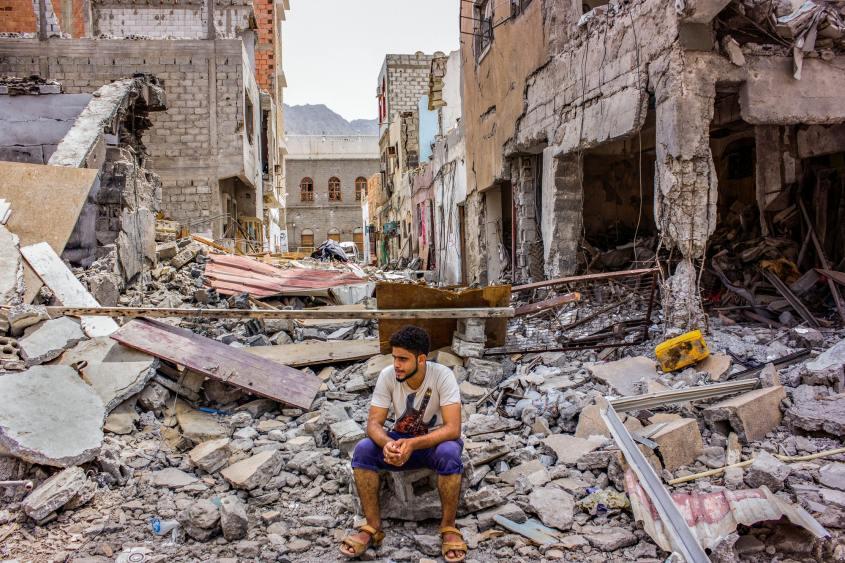 Yemen airstrike rubble UNDP