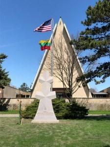 Lithuania monument Adolfas Ramanauskas Vanagas flags